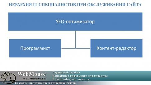Иерархия IT-специалистов при обслуживании сайта